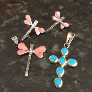 Cross and dragonfly silver set.